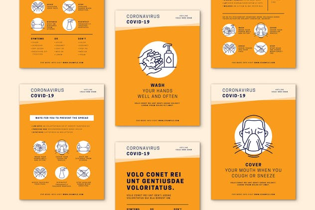 Orange Covid-19 Poster Set