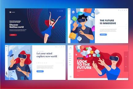 Web design templates of virtual reality
