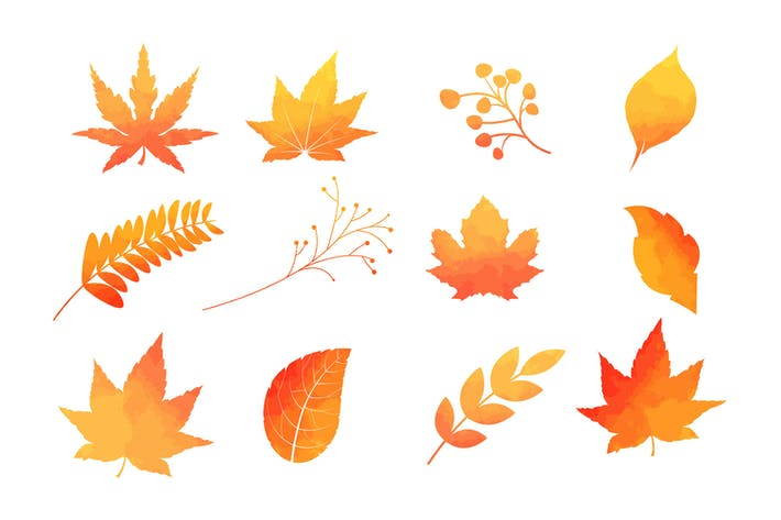 Thumbnail for Watercolor Autumn Leaves Vector Collection