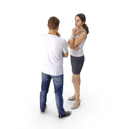 Hombre y la Mujer hablando