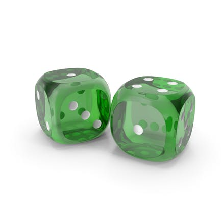 Dices Duo Transparent Green White