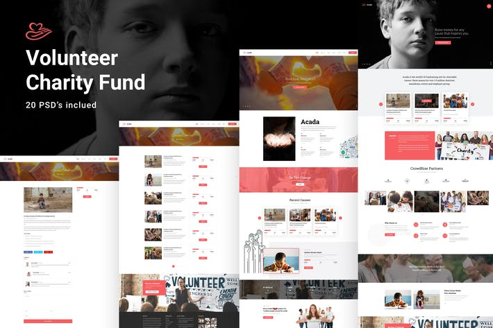 Thumbnail for Volunteer & Charity Fund PSD Template