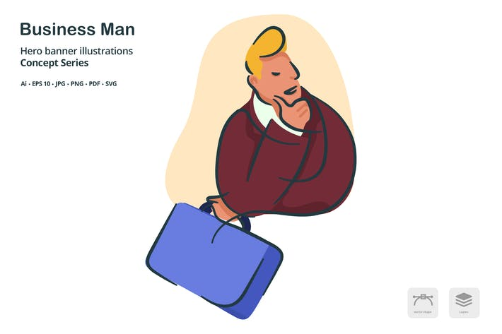 Thumbnail for Business Man Occupation Vector Illustration