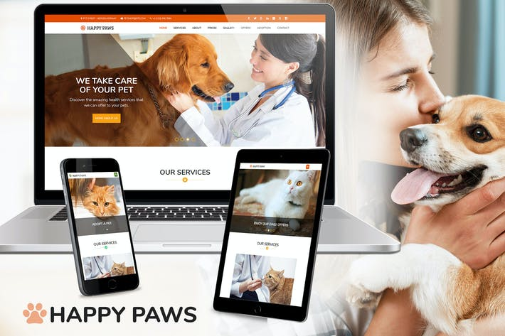 Thumbnail for Happy Paws - Pet Responsive One Page HTML