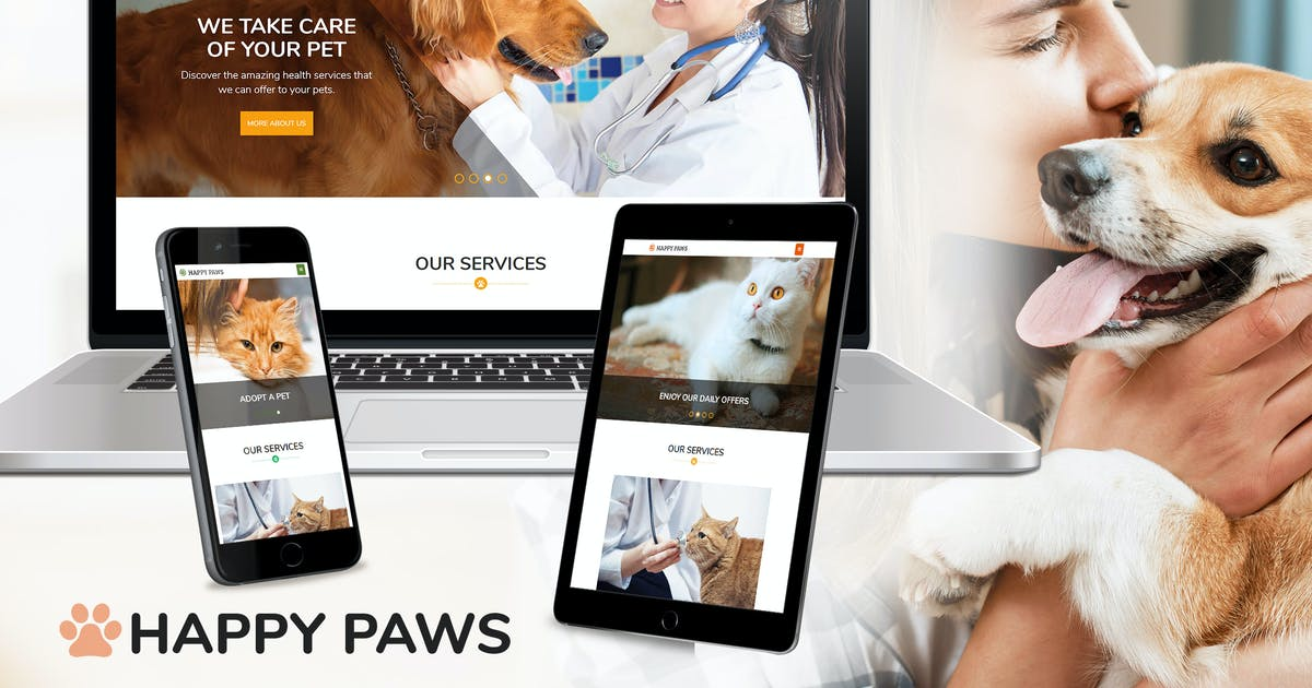 Download Happy Paws - Pet Responsive One Page HTML by ingridk