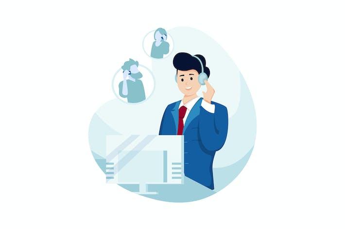 Thumbnail for Online Support Vektor Illustration Konzept