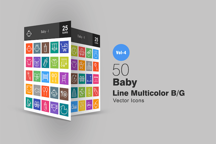 Thumbnail for 50 Baby Line Multicolor Icons