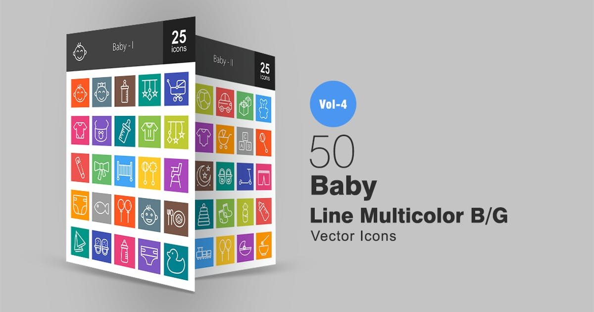 Download 50 Baby Line Multicolor Icons by Unknow