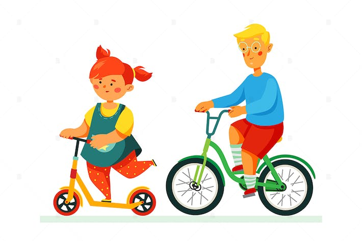 Thumbnail for Happy children cycling - flat style illustration