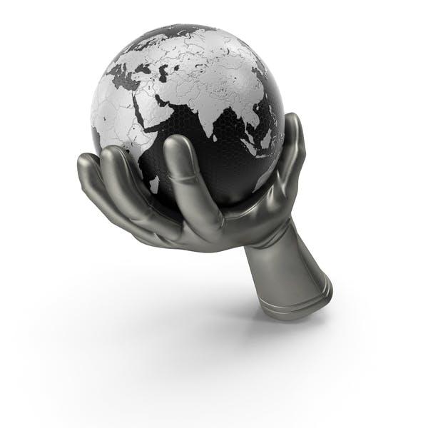 Glove Holding a High Tech Earth