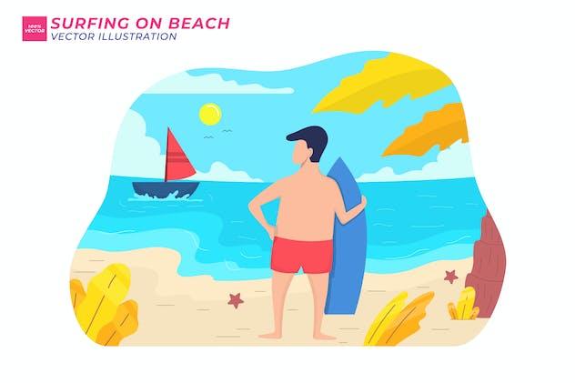 Surfing on Beach Flat Illustration