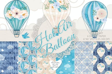 Paquete de globo de aire caliente azul