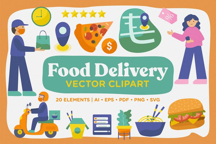 Thumbnail for Delivery Food Vector Clipart Pack