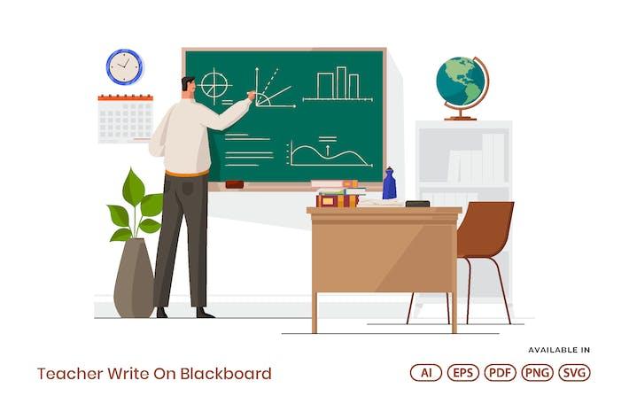 Teacher Write On Blackboard