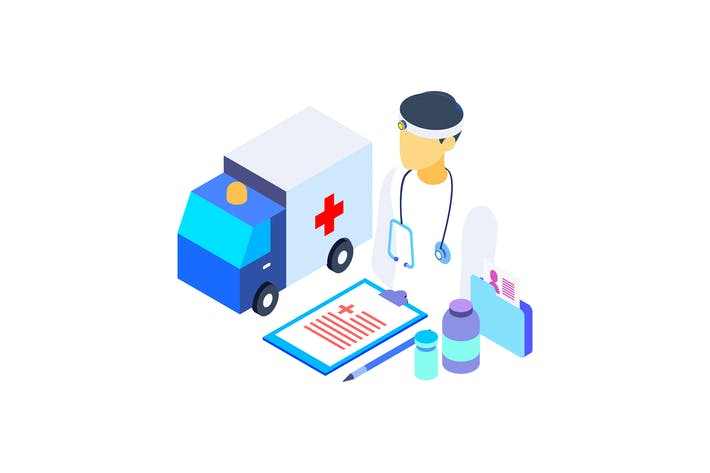 Cover Image For Healthcare Isometric Graphic Illustration