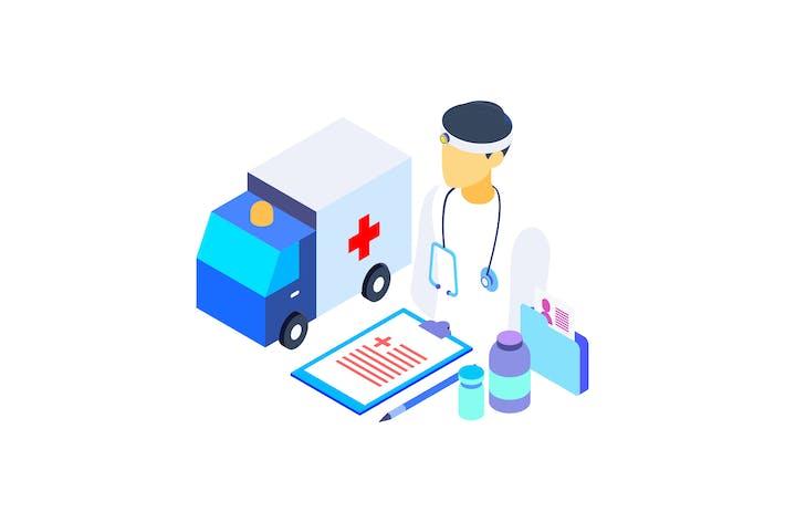 Thumbnail for Ilustración gráfica isométrica para el cuidado de la salud