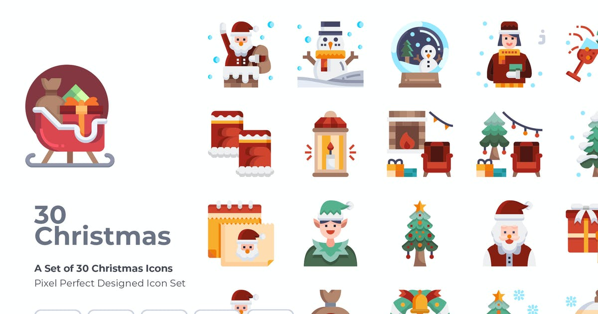 Download 30 Christmas Element Icons by Justicon