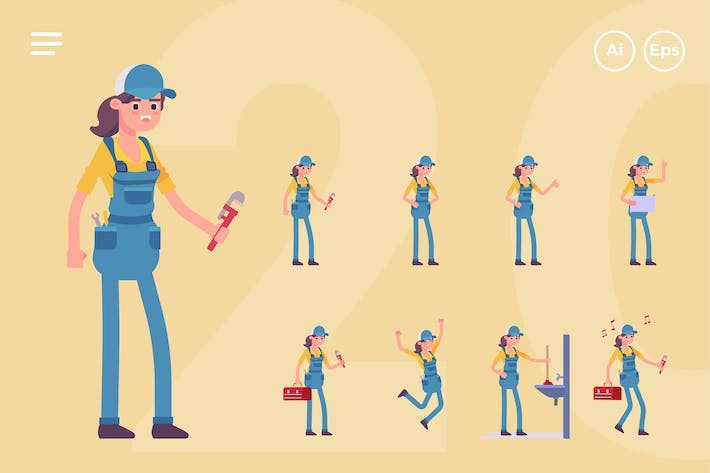 Cover Image For Female Plumber Character Set (20 Poses)