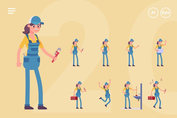Thumbnail for Female Plumber Character Set (20 Poses)