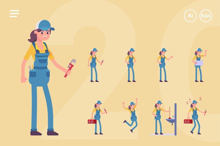 Female Plumber Character Set (20 Poses)