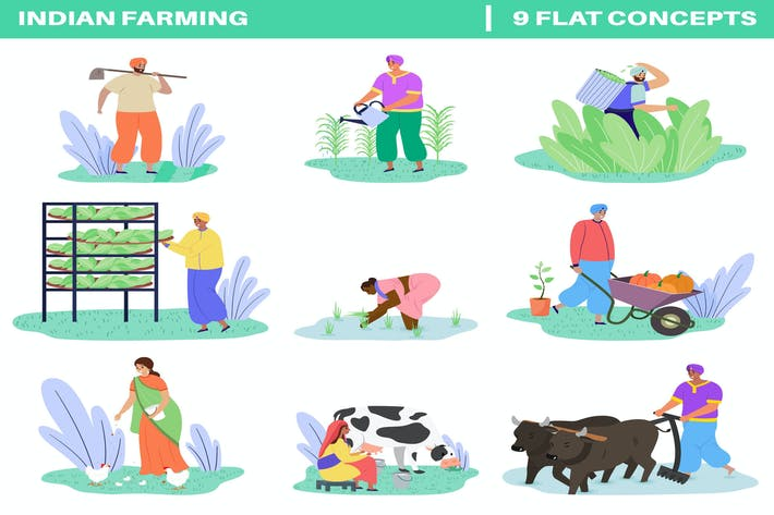 Thumbnail for Indian Farming Flat Illustration