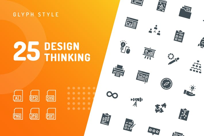 Cover Image For Design Thinking Glyph Icons