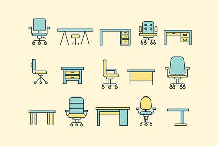 15 Office Desk and Chair Icons