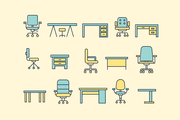 Thumbnail for 15 Office Desk and Chair Icons