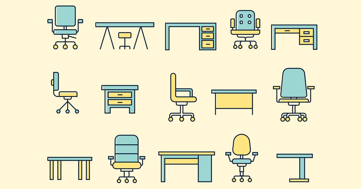 15 Office Desk and Chair Icons by creativevip