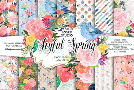 Acrylic JOYFUL SPRING digital paper pack