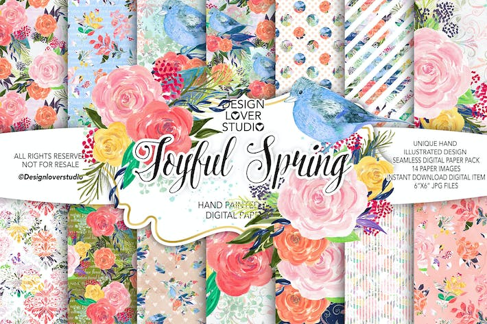 Thumbnail for Acrylic JOYFUL SPRING digital paper pack