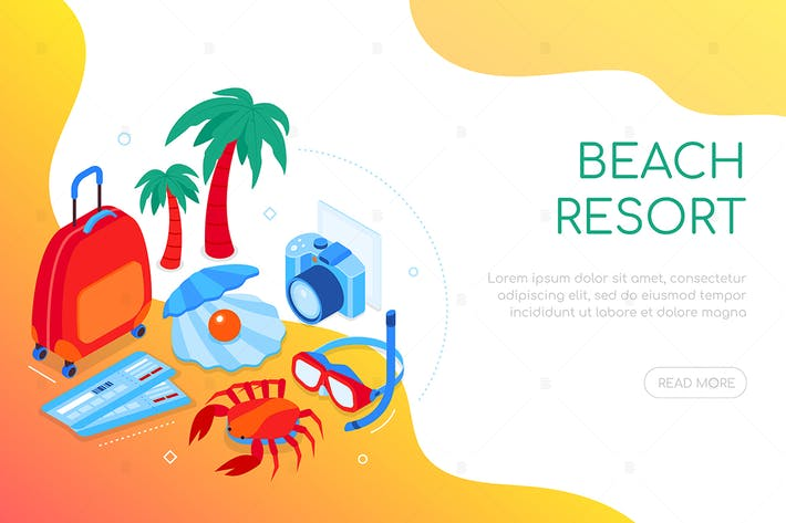 Thumbnail for Beach resort - bannière web isométrique colorée