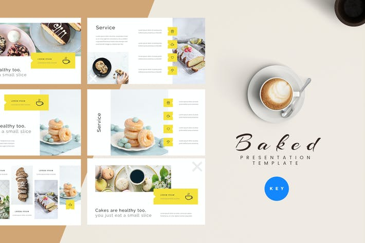 Thumbnail for Baked - Bakery Keynote Presentation Template
