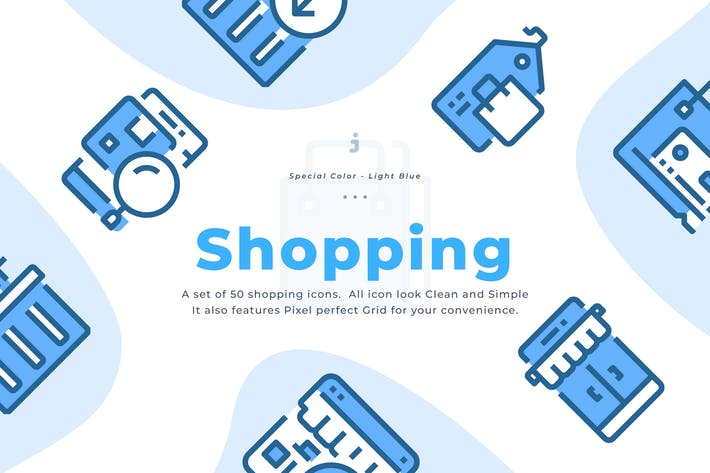 Thumbnail for 50 Shopping and E-Commerce Icons - Light Blue