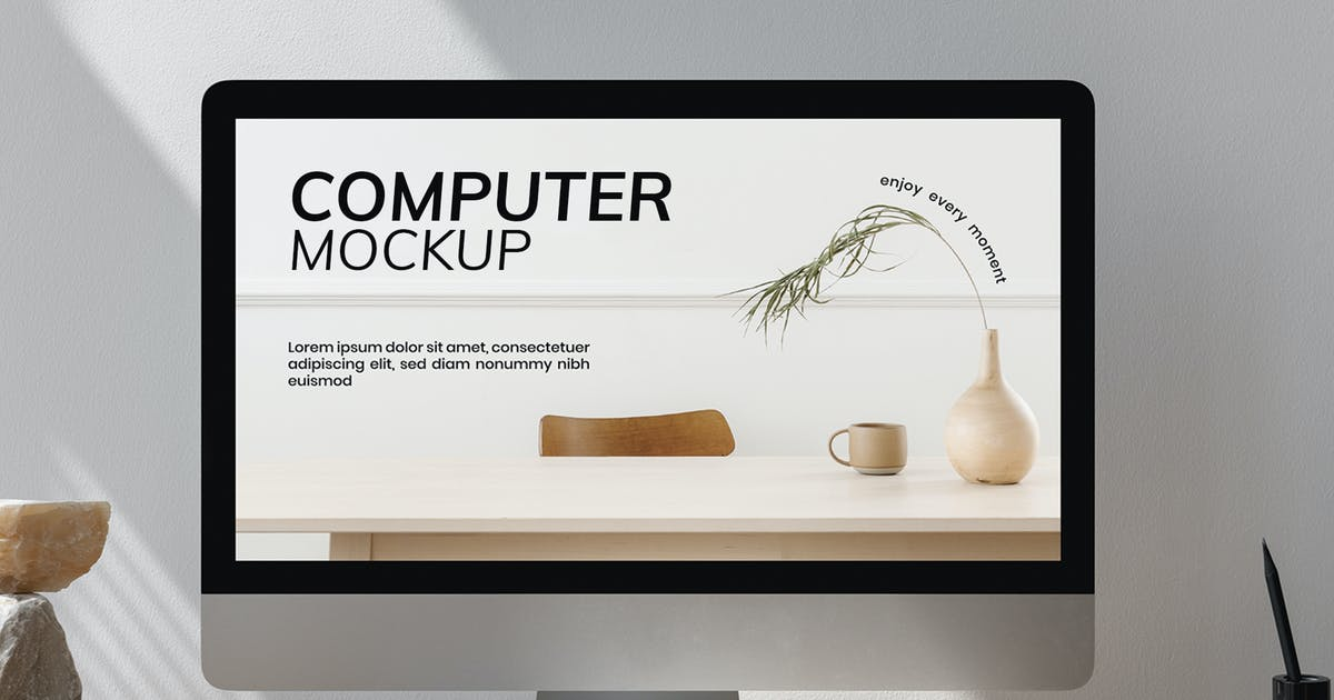 Download Computer screen mockup in workspace by Rawpixel