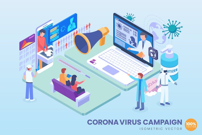 Cover Image For Isometric Corona Virus Campaign Vector Concept