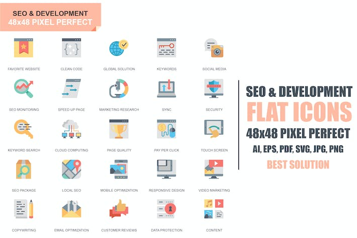 Thumbnail for Simple Set Seo and Development Flat Icons