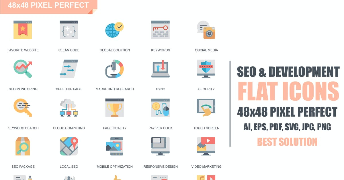 Download Simple Set Seo and Development Flat Icons by alexdndz