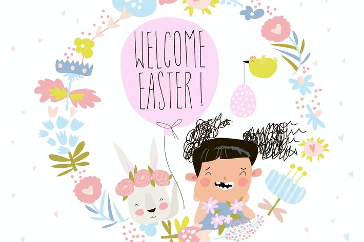 Thumbnail for Cartoon Easter wreath with cute rabbit and little