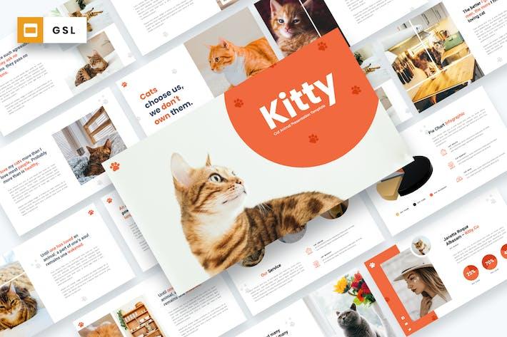 Китти - кошка животных Google слайды Шаблон