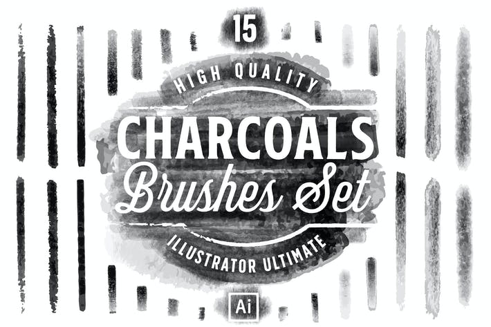 Thumbnail for Charcoals Brushes Set for Adobe Illustator