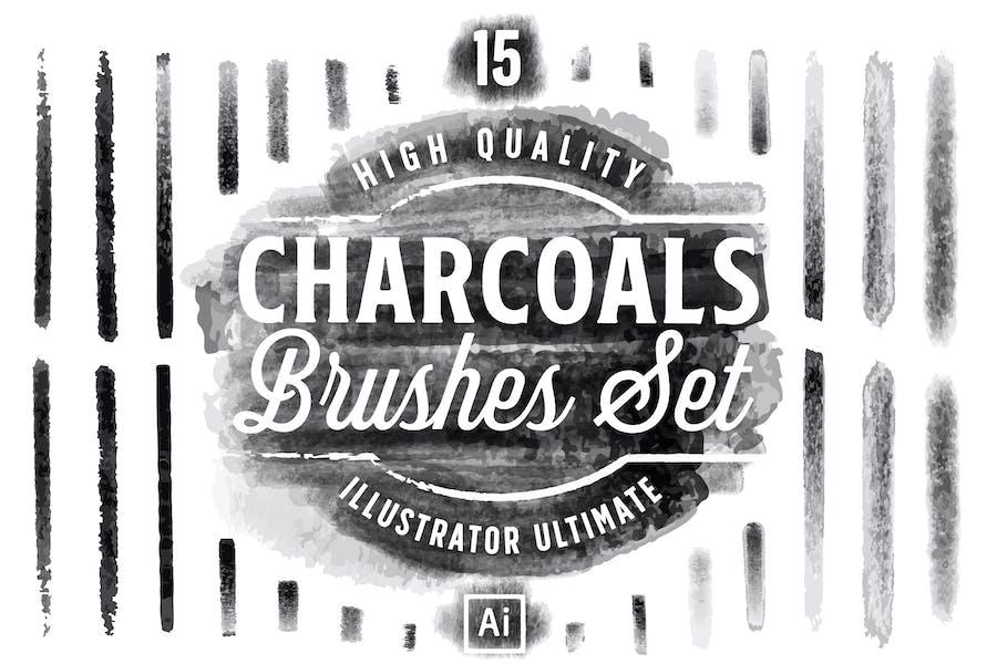Charcoals Brushes Set for Adobe Illustator