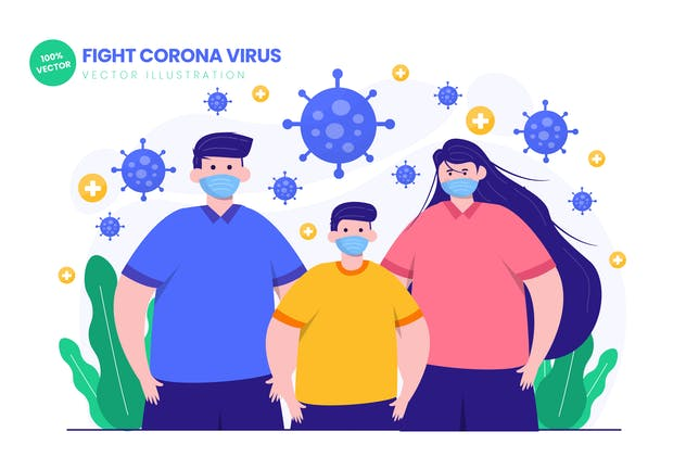 Fight Corona Virus Flat Vector Illustration