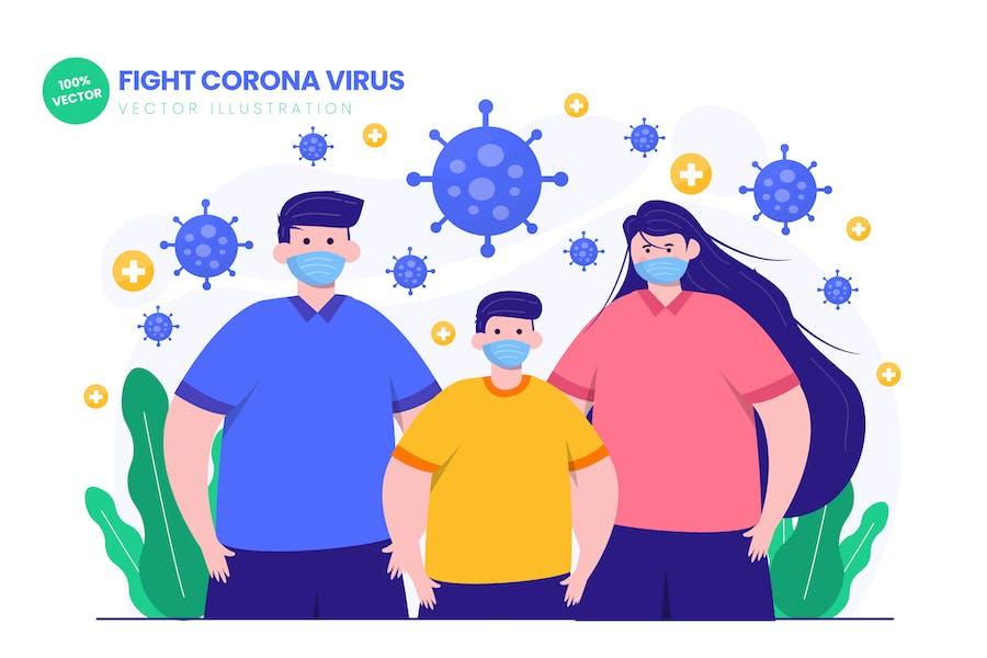 Fight Corona Virus Flat Vector Illustration