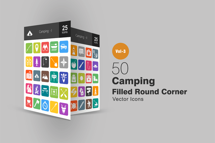 Thumbnail for 50 Camping Flat Round Corner Icons