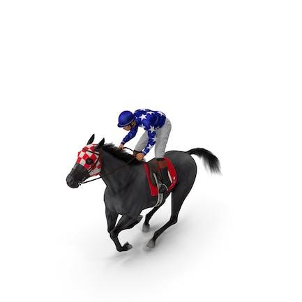 Gallop Black Racing Horse with Jokey Fur