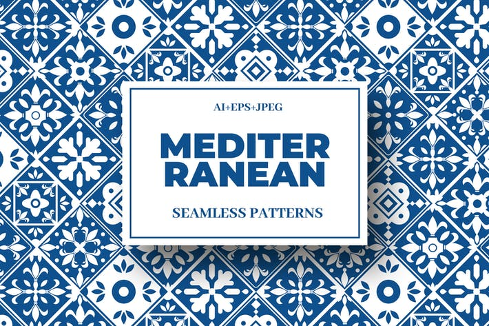 Thumbnail for Mediterranean Seamless Pattern Collection