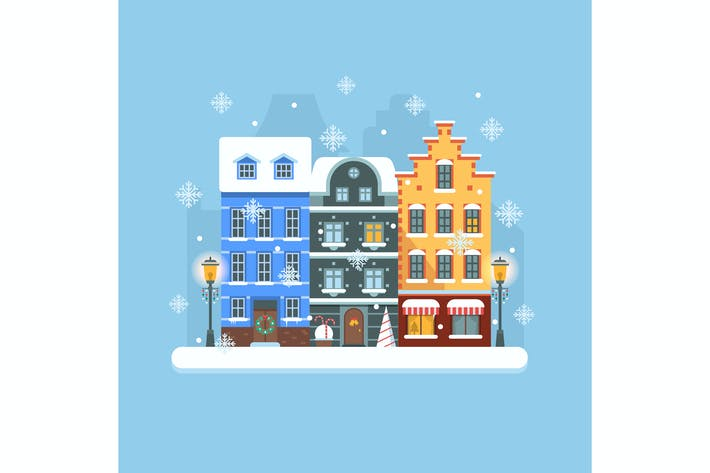 Thumbnail for Europe Christmas Snow Town Street