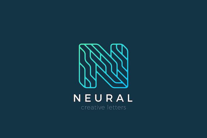 Thumbnail for Letter N Logo Technology Linear Outline style