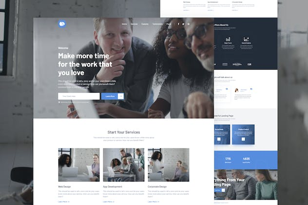 Mola - Business Landing Page Adobe XD - product preview 0